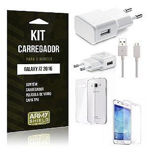 Kit Carregador Samsung J2 II 2016 Película de Vidro + Capa Tpu + Carregador  -ArmyShield