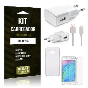 Kit Carregador Samsung j3 2015 Película de Vidro + Capa Tpu + Carregador  -ArmyShield