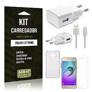 Kit Carregador Samsung j3 prime Película de Vidro + Capa Tpu + Carregador  -ArmyShield