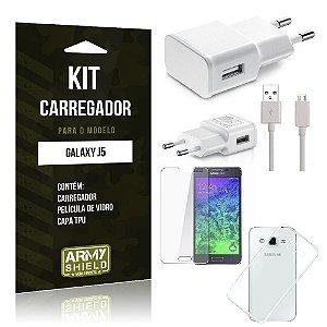 Kit Carregador Samsung j5 Película de Vidro + Capa Tpu + Carregador  -ArmyShield