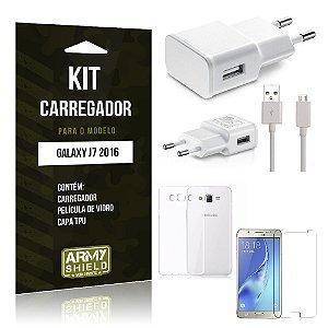 Kit Carregador Samsung J7 II 2016 Película de Vidro + Capa Tpu + Carregador  -ArmyShield