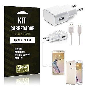 Kit Carregador Samsung j7 prime Película de Vidro + Capa Tpu + Carregador  -ArmyShield
