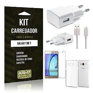 Kit Carregador Samsung on 7 Película de Vidro + Capa Tpu + Carregador  -ArmyShield