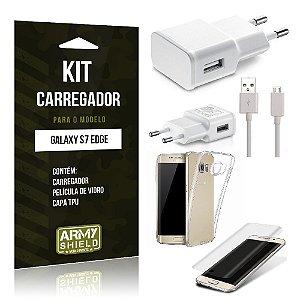 Kit Carregador Samsung s7 edge Película de Vidro + Capa Tpu + Carregador  -ArmyShield