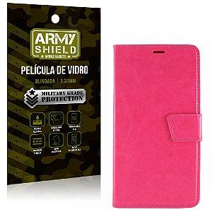 Kit Capa Carteira Rosa + Película de Vidro Lg x power - Armyshield