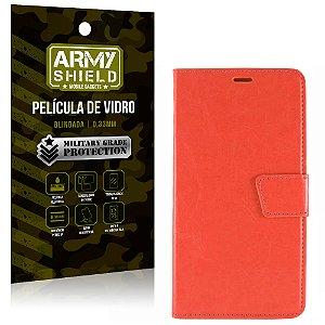 Kit Capa Carteira Vermelha + Película de Vidro Motorola moto e3 - Armyshield