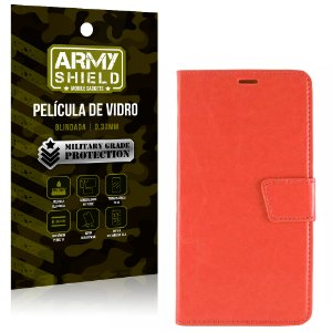 Kit Capa Carteira Vermelha + Película de Vidro Motorola moto g4 play - Armyshield