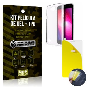 Kit Película de Gel + Capa TPU LG K10 Power  - Armyshield