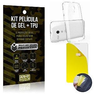 Kit Película de Gel + Capa TPU Motorola Moto G2  - Armyshield