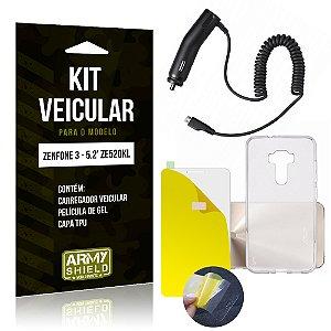 Kit Veicular Asus Zenfone 3 - 5.2' ZE520KL Película Gel + Capa + Carregador - Armyshield