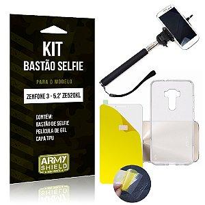 Kit Bastão Selfie Asus Zenfone 3 - 5.2' ZE520KL Película Gel + Capa + Bastão - Armyshield