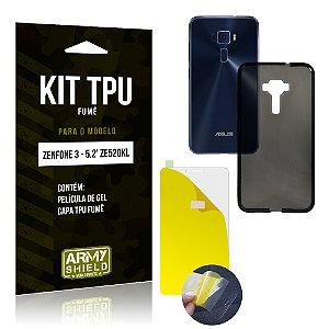 Kit TPU Fumê Asus Zenfone 3 - 5.2' ZE520KL Película de Gel + Capa TPU Fumê - Armyshield