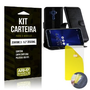 Kit Carteira Asus Zenfone 3 - 5.2' ZE520KL Película de Gel + Capa Carteira - Armyshield