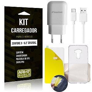 Kit Carregador Asus Zenfone 3 - 5.2' ZE520KL Película de Gel + Capa TPU + Carregador - Armyshield