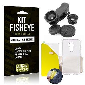 Kit Fisheye Asus Zenfone 3 - 5.2' ZE520KL Película de Gel + Capa TPU + Lente Fisheye - Armyshield