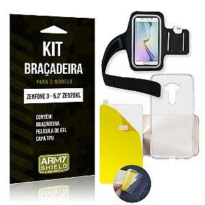 Kit Braçadeira Asus Zenfone 3 - 5.2' ZE520KL Película de Gel + Capa TPU + Braçadeira - Armyshield