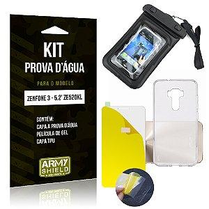 Kit Capa Prova D'água Asus Zenfone 3 - 5.2' ZE520KL Película Gel + TPU + Prova d'água - Armyshield
