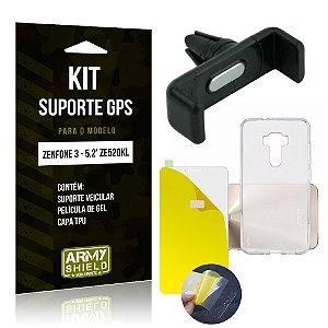 Kit Suporte Veicular Asus Zenfone 3 - 5.2' ZE520KL Película Gel + Capa + Suporte - Armyshield