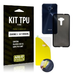 Kit TPU Fumê Asus Zenfone 3 - 5.5' ZE552KL Película de Gel + Capa TPU Fumê - Armyshield