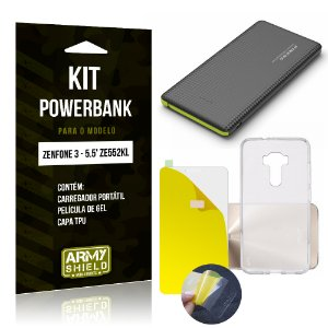 Kit Powerbank Asus Zenfone 3 - 5.5' ZE552KL Película de Gel + Capa TPU + Powerbank - Armyshield