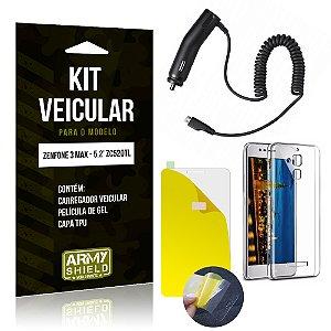 Kit Veicular Asus Zenfone 3 Max - 5.2' ZC520TL Película Gel + Capa + Carregador - Armyshield