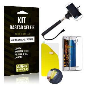 Kit Bastão Selfie Asus Zenfone 3 Max - 5.2' ZC520TL Película Gel + Capa + Bastão - Armyshield
