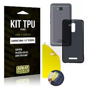 Kit TPU Fumê Asus Zenfone 3 Max - 5.2' ZC520TL Película de Gel + Capa TPU Fumê - Armyshield