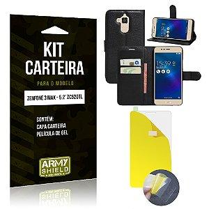 Kit Carteira Asus Zenfone 3 Max - 5.2' ZC520TL Película de Gel + Capa Carteira - Armyshield