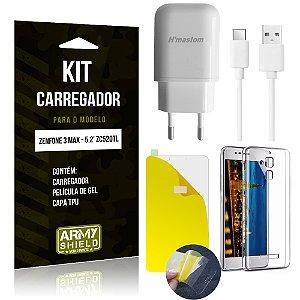 Kit Carregador Asus Zenfone 3 Max - 5.2' ZC520TL Película de Gel + Capa TPU + Carregador - Armyshield