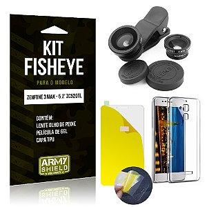 Kit Fisheye Asus Zenfone 3 Max - 5.2' ZC520TL Película de Gel + Capa TPU + Lente Fisheye - Armyshield