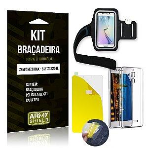 Kit Braçadeira Asus Zenfone 3 Max - 5.2' ZC520TL Película de Gel + Capa TPU + Braçadeira - Armyshield