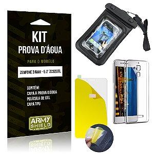 Kit Capa Prova D'água Asus Zenfone 3 Max - 5.2' ZC520TL Película Gel + TPU + Prova d'água - Armyshield