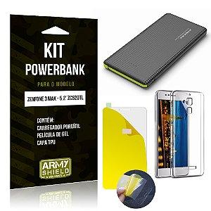 Kit Powerbank Asus Zenfone 3 Max - 5.2' ZC520TL Película Gel + Capa + Powerbank - Armyshield