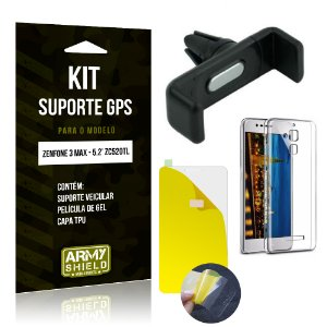 Kit Suporte Veicular Asus Zenfone 3 Max - 5.2' ZC520TL Película Gel + Capa + Suporte - Armyshield
