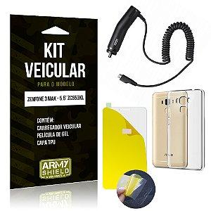 Kit Veicular Asus Zenfone 3 Max - 5.5' ZC553KL Película + Capa + Carregador - Armyshield