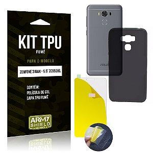 Kit TPU Fumê Asus Zenfone 3 Max - 5.5' ZC553KL Película de Gel + Capa TPU Fumê - Armyshield
