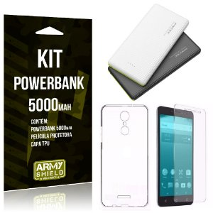 Kit Powerbank 5000 Alcatel A3 XL Powerbank + Película + Capa  - Armyshield