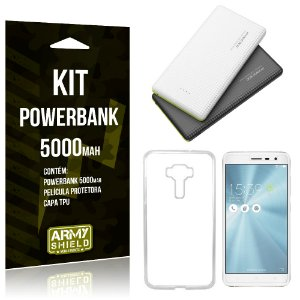 Kit Powerbank 5000 Asus Zenfone 3 - 5.2' ZE520KL Powerbank + Película de Gel + Capa  - Armyshield
