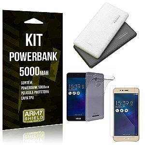 Kit Powerbank 5000 Asus Zenfone 3 Max - 5.2' ZC520TL Powerbank + Película de Gel +Capa  - Armyshield