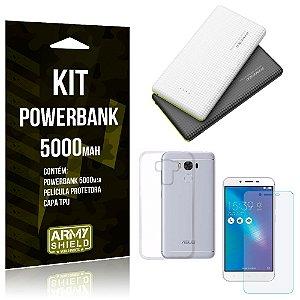 Kit Powerbank 5000 Asus Zenfone 3 Max - 5.5' ZC553KL Powerbank + Película de Gel +Capa  - Armyshield