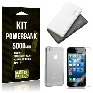 Kit Powerbank 5000 Apple iPhone 5 - 5S - 5SE Powerbank + Película + Capa  - Armyshield
