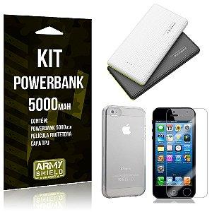 Kit Powerbank 5000 Apple iPhone 5 - 5S - 5SE Powerbank + Película + Capa  - Armyshield