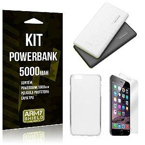 Kit Powerbank 5000 Apple iPhone 6 - 6S Powerbank + Película + Capa  - Armyshield