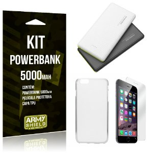 Kit Powerbank 5000 Apple iPhone 6 Plus - 6S Plus Powerbank + Película + Capa  - Armyshield
