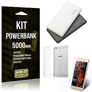 Kit Powerbank 5000 Lenovo K5 Powerbank + Película + Capa  - Armyshield