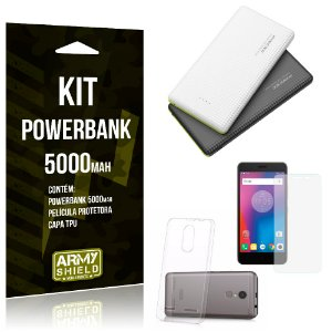 Kit Powerbank 5000 Lenovo K6 Powerbank + Película + Capa  - Armyshield
