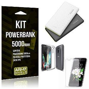 Kit Powerbank 5000 LG K10 Powerbank + Película + Capa  - Armyshield