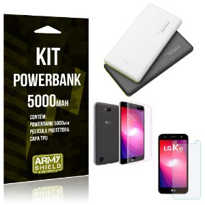 Kit Powerbank 5000 LG K10 Power Powerbank + Película + Capa  - Armyshield