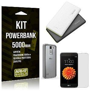 Kit Powerbank 5000 LG K7 Powerbank + Película + Capa  - Armyshield