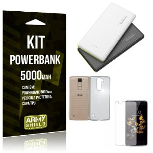 Kit Powerbank 5000 LG K8 Powerbank + Película + Capa  - Armyshield